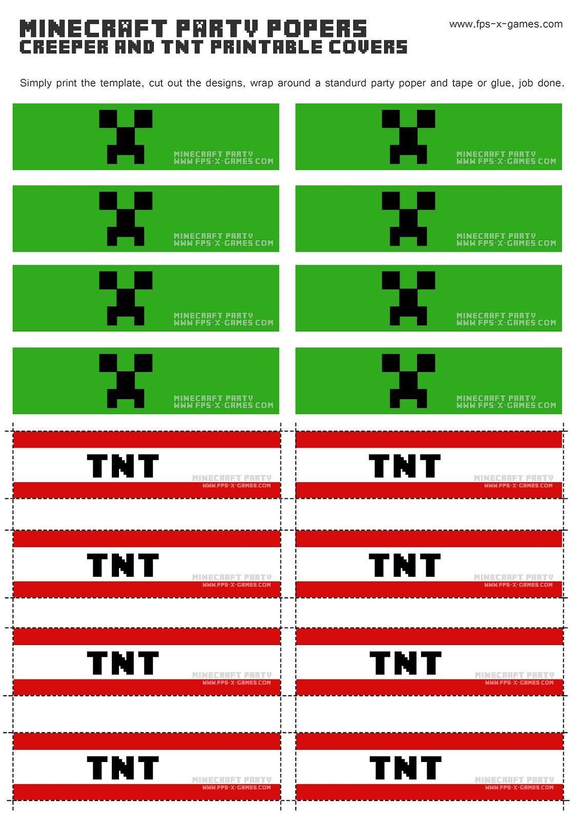 Create Minecraft Themed Party Popper Covers With FPSXGames Creeper And TNT Printable Template