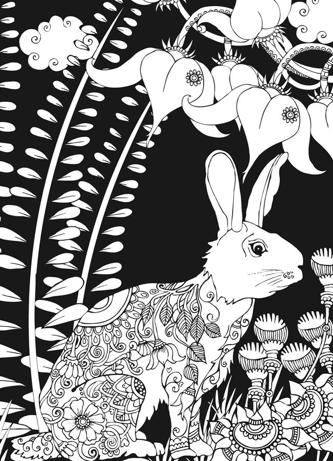 Welcome to dover publications midnight forest bunny rabbit abstract doodle zentangle paisley coloring pages colouring adult