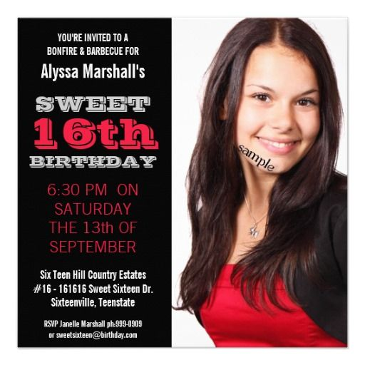 Sweet 16 birthday party mod black and red invites photo 16th sweet 16 birthday party mod black and red invites filmwisefo
