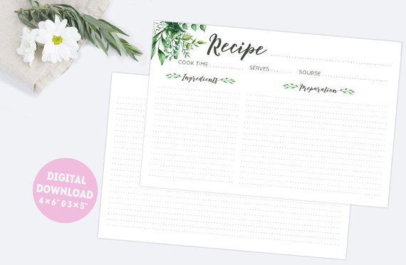 Floral Recipe Cards Printable 3x5 And 4x6 Double Sided Blank Etsy Floral Recipe Cards Printable Recipe Cards Recipe Cards