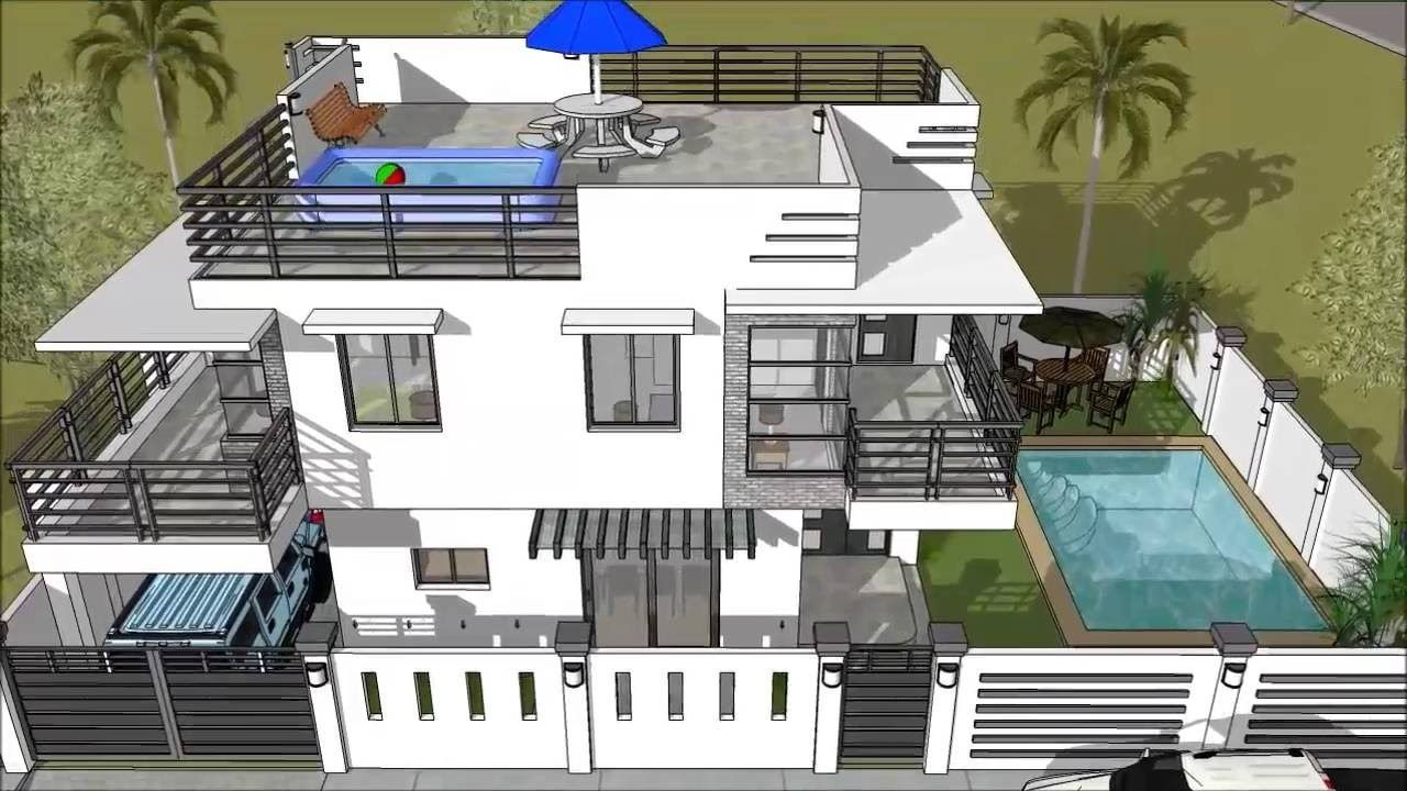 House Design With Rooftop Swimming Pool 2 Storey House Design Pool House Plans Modern Pool House