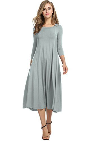 ede1f88b67 HOTOUCH Women s 3 4 Sleeve A-line and Flare Midi Long Dre ...