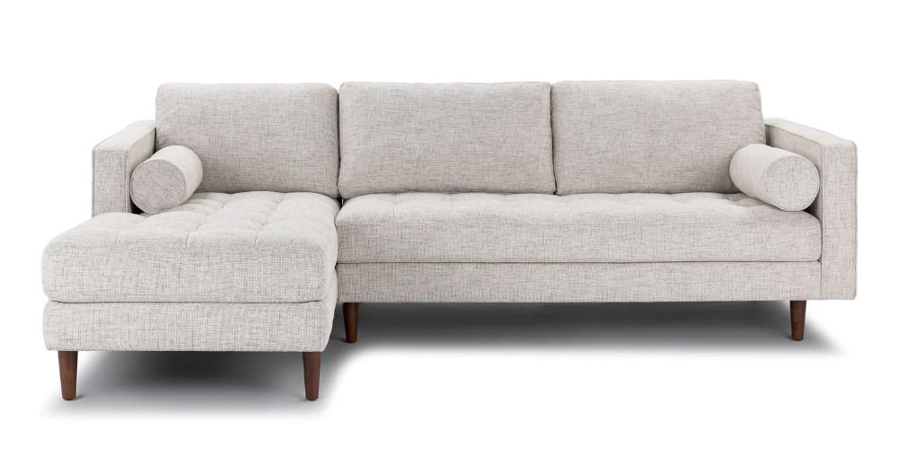 Sven Birch Ivory Left Sectional Sofa In 2020 Sectional Sofa Modern Sofa Sectional Mid Century Modern Sofa