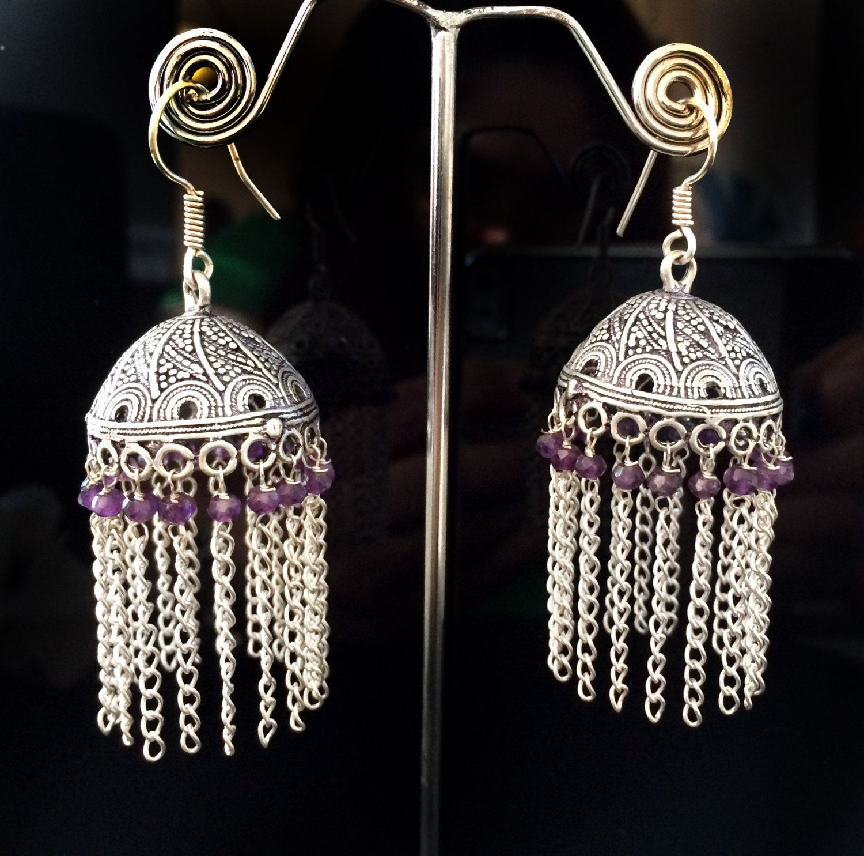 Amethyst Jhumka Earrings Large Silver Jhumkas Purple Ethnic Jewelry Indian Tribal Jhumkis