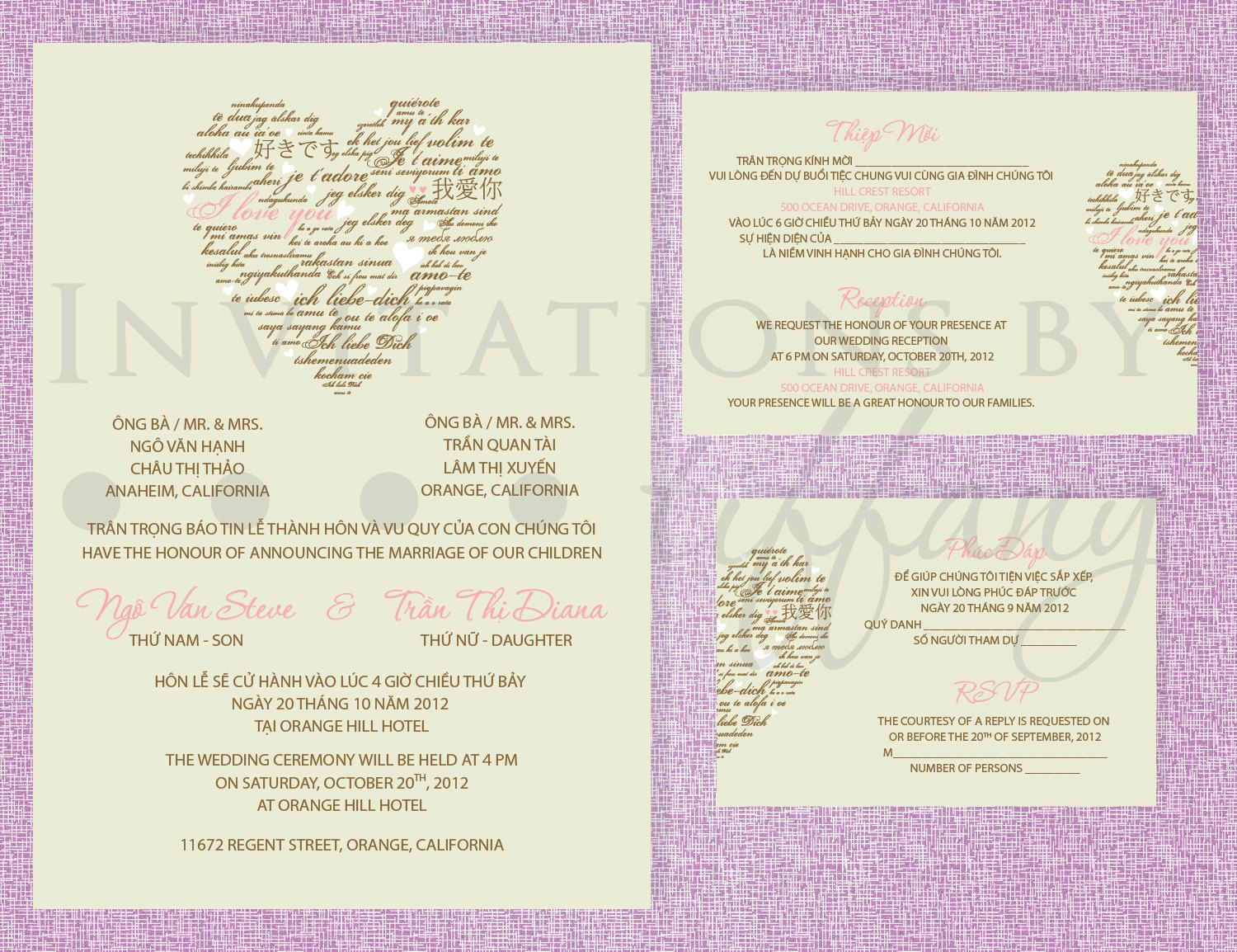 Printable bilingual vietnamese wedding invitation set wedding printable bilingual vietnamese wedding invitation set stopboris Gallery