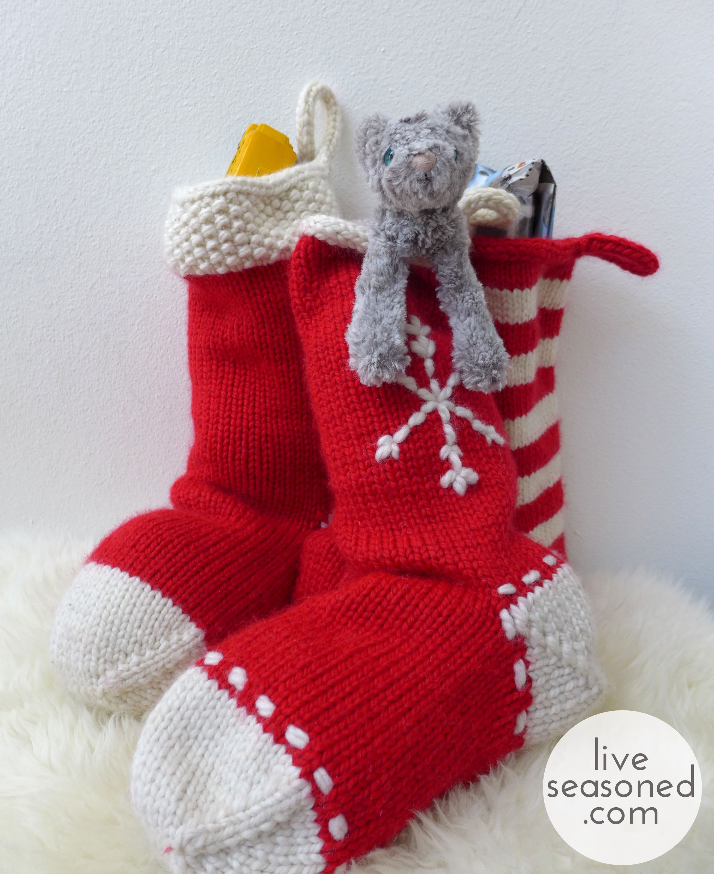 Weekend Project : Knit a Stocking (or three!) - | Easy christmas stockings, Knitted christmas ...
