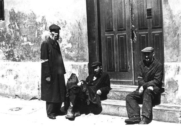Warsaw, Poland, Three Jews in a doorway. None survived