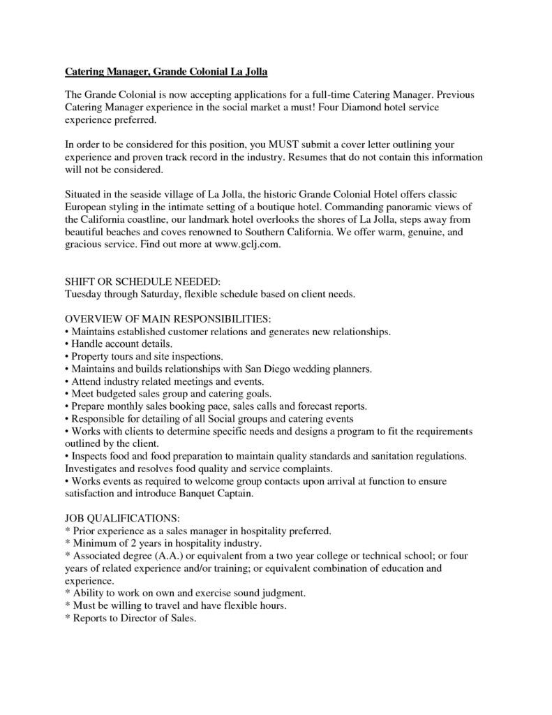 Catering Manager Resume Catering Manager Resume Cover Letter Examples Hashdoc  Home