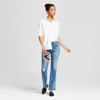 Light Wash Universal Thread Women/'s Mid-Rise Destructed Skinny Bootcut Jeans