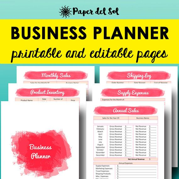 Business Planner Printable and Editable Pages, Business Planning - printable business plan template