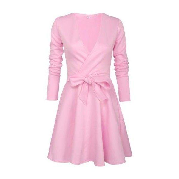 Pink Bowknot Embellished V Neck Skater Dress ($25) ❤ liked on Polyvore featuring dresses, pink, long sleeve skater dress, mini dress, pink skater dress, long-sleeve skater dresses and v neck skater dress