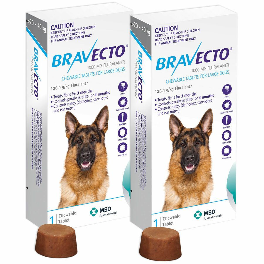 2 Boxes Chewable Tablets Bravecto 1000 Mg Large Dog 20 40 Kg Blue Pack 739761935022 Ebay Ad Mg Large Brave Large Dogs Dog Weight Anti Inflammatory For Dogs