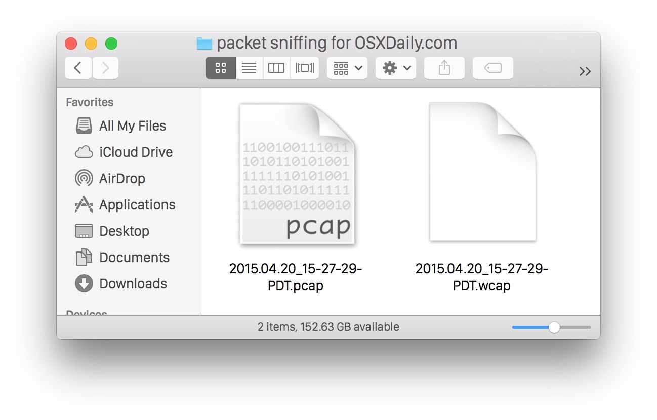 Captured packets WCAP and PCAP files from the Mac OS X packets