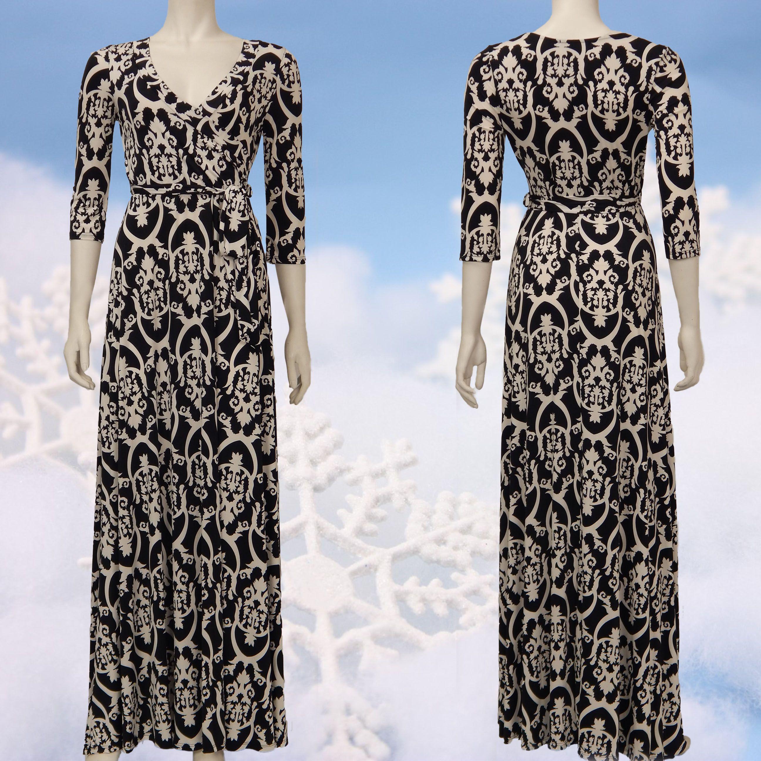 Lovely maxi dress simple black uwhite maxi wrap dress check