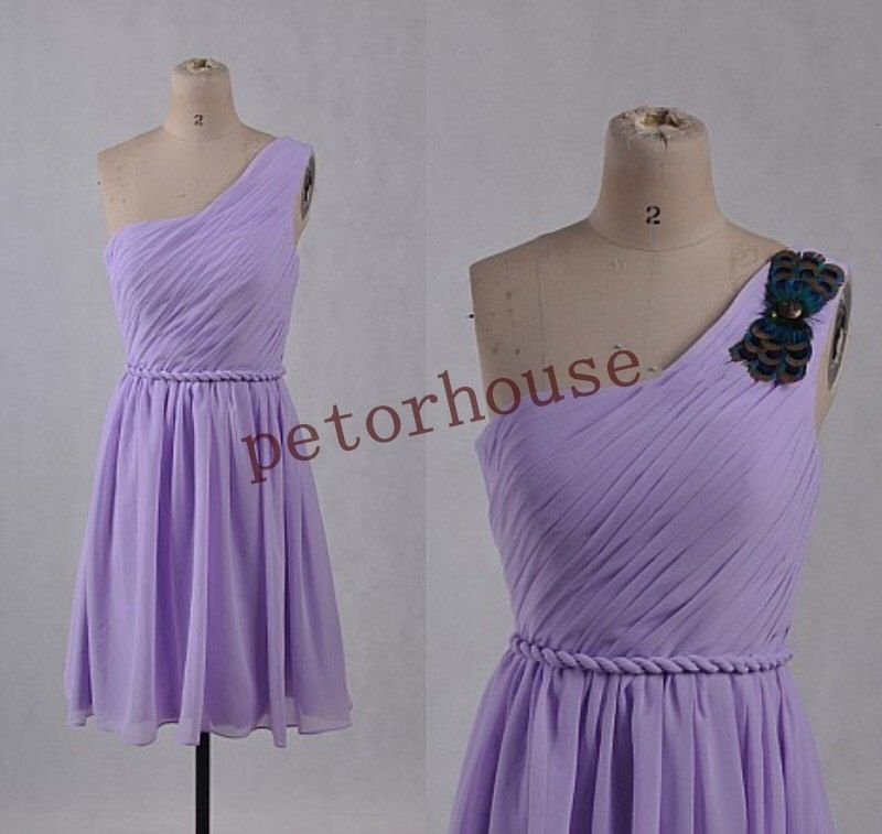 Short Lavender Bridesmaid Dresses with Peacock Breast Flower, Short Prom Dresses,Simple Party Dresses,Homecoming Dresses with Brooch by petorhouse on Etsy https://www.etsy.com/listing/209546877/short-lavender-bridesmaid-dresses-with