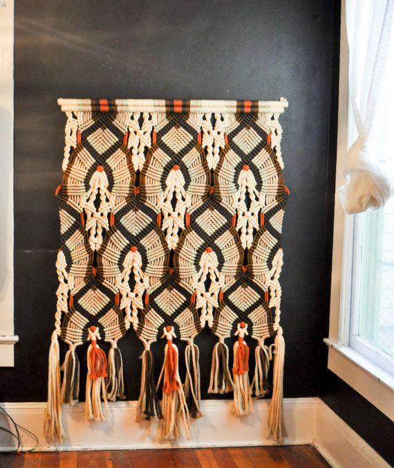 vintage 1970 macram grande tenture murale rideau doux. Black Bedroom Furniture Sets. Home Design Ideas