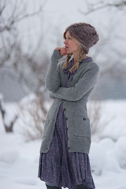 Dress, black tights, grey cardigan, hat