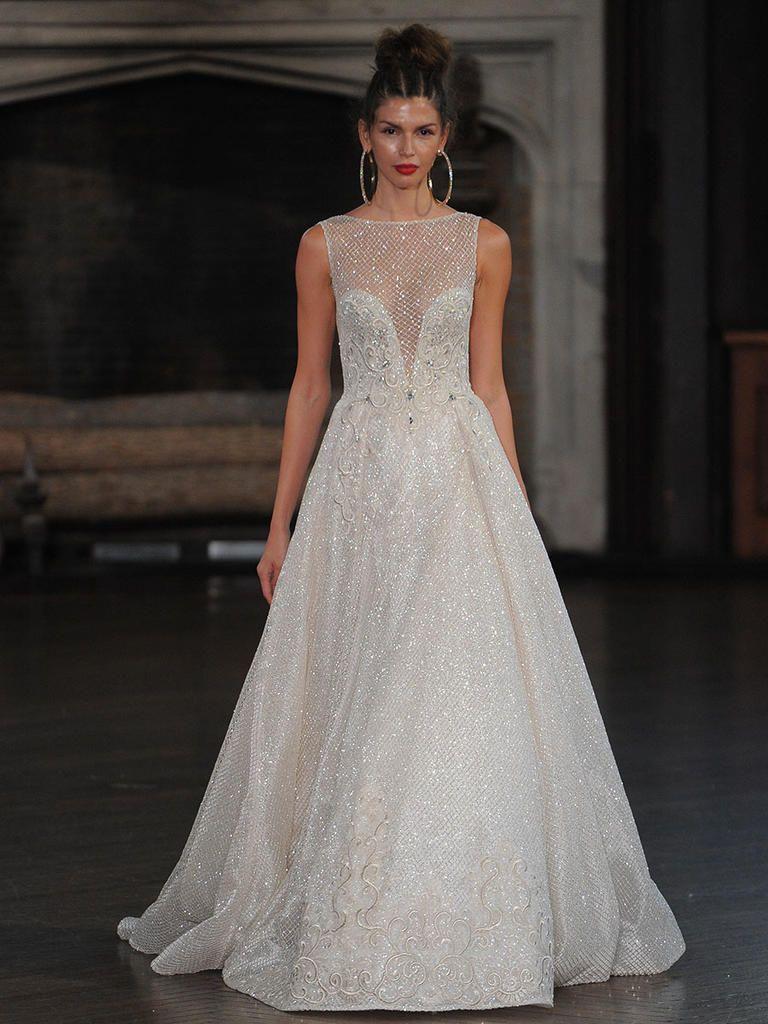 Metallic wedding dress  Berta metallic wedding gown with high neckline and illusion plunge