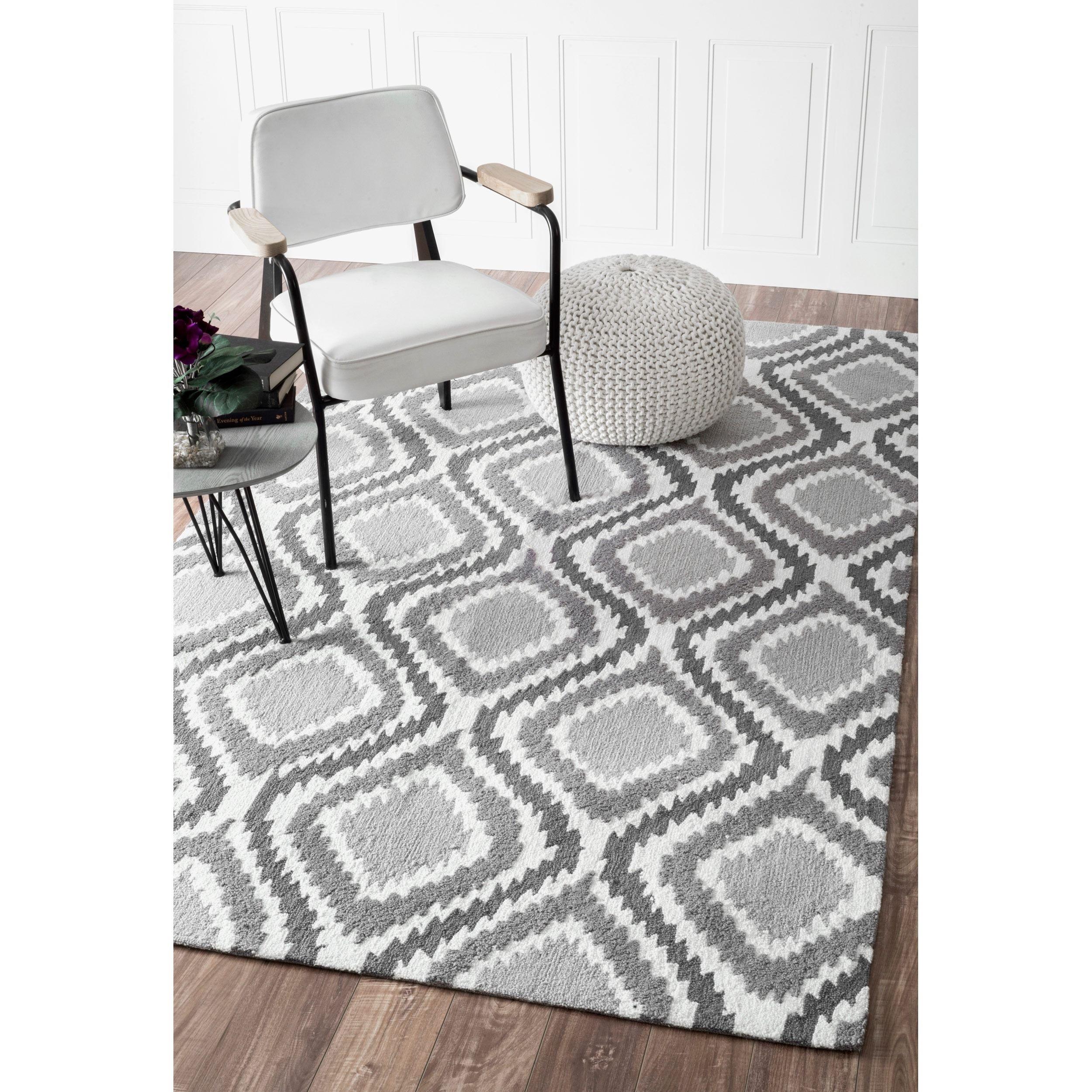 nuloom handmade trellis modern ikat wool area rug (7'6 x 9'6
