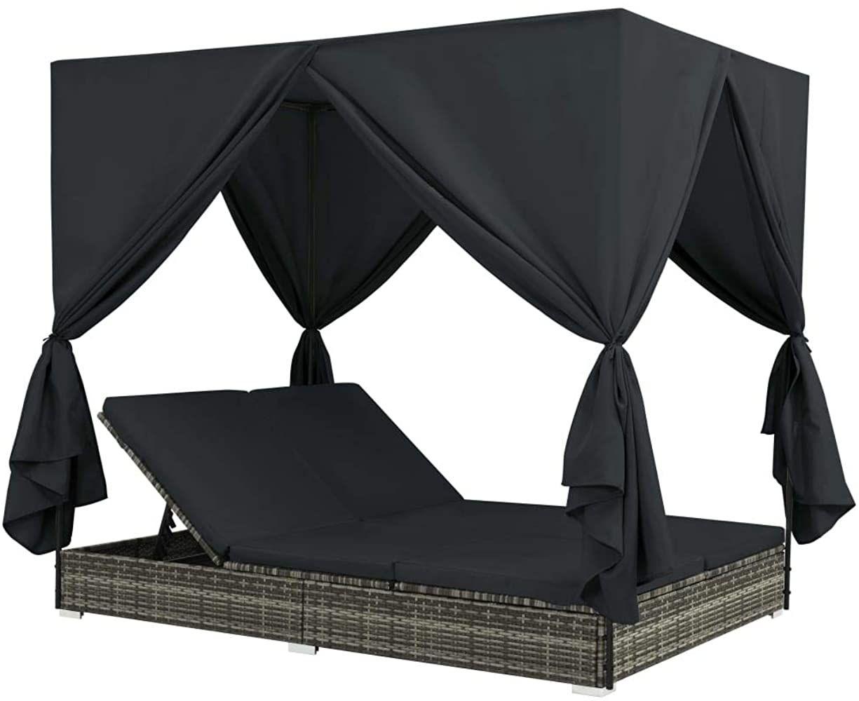 Vidaxl Sonnenliege Mit Vorhangen Gartenliege Lounge Doppelliege
