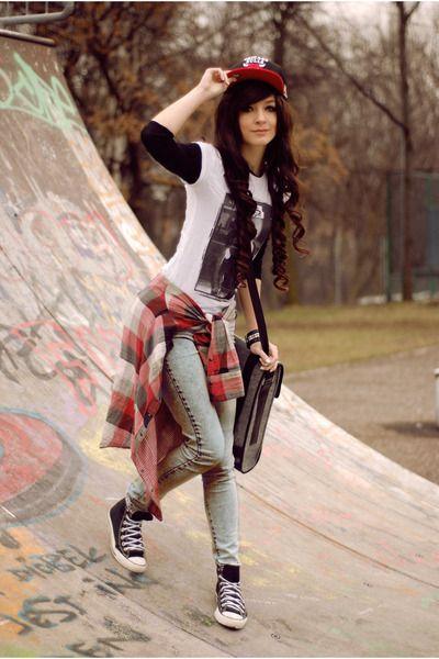 ae3d98c6f2e black rocker Converse shoes - black black Zara shirt - sky blue wash H pants