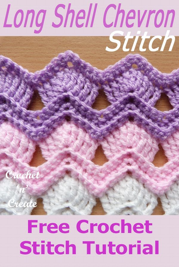 Long Shell Chevron Stitch Long Shell Chevron Stitch - This beautiful free stitch tutorial is my version of the vintage fan ripple stitch, I have used a treble (dtr for UK) stitch.This is a gorgeous design for blankets etc. learn how to crochet it from my instructions below in USA and UK formats. #stitching