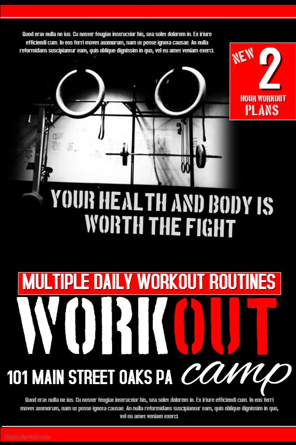 red gym workout poster flyer social media graphic design
