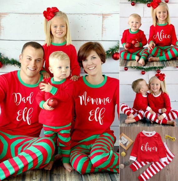 Personalised Christmas Pajamas - Matching Christmas Pyjamas - Elf Pajamas -  Family Christmas Outfit - Christmas PJs - Elf Stripe Pajamas 6e8e565b0