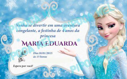 convites de aniversário da Frozen Elsa e Olaf