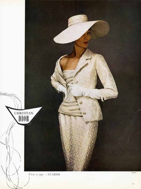 255af33ed8a6 CHRISTIAN DIOR Fashion Page Ad - 1955 - Gorgeous Suit & Big Hat Paper Ad  FRENCH