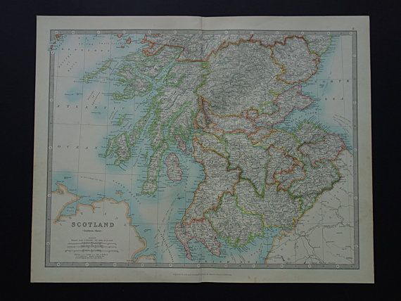 SCOTLAND antique map of Scotland large 1921 original old map