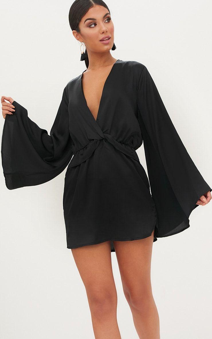 6b21b00cf5 Black Satin Kimono Sleeve Plunge Shift Dress | bday | Satin kimono ...