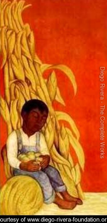 Nino Indigena Con Tallos De Maiz Diego Rivera Www Diego Rivera