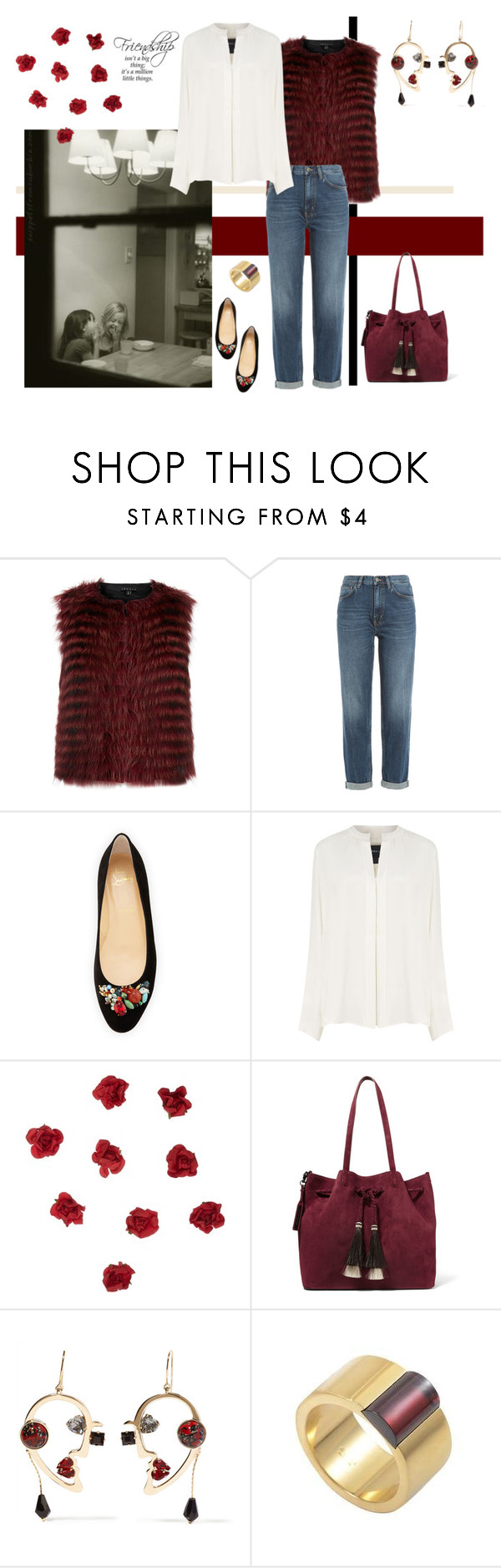 """""""Friendship"""" by namekristy ❤ liked on Polyvore featuring Theory, M.i.h Jeans, Christian Louboutin, Derek Lam, John Lewis, Loeffler Randall and Etro"""