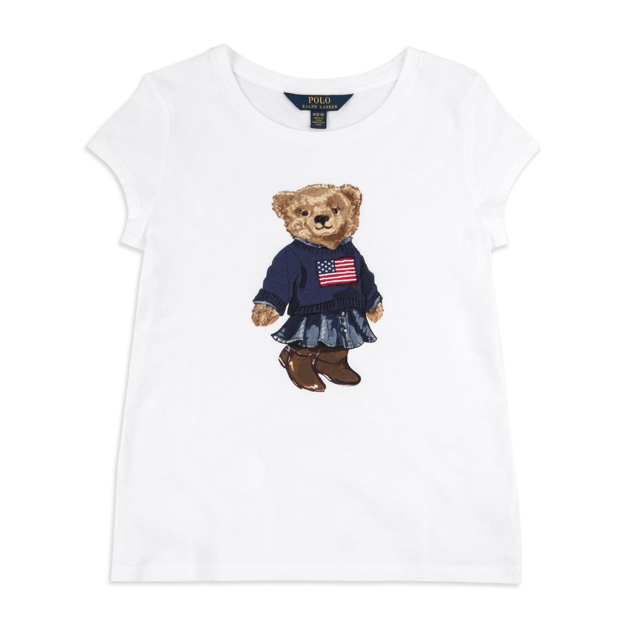 00a8af3f9006e RALPH LAUREN Girls Polo Bear T-Shirt - White Ralph Lauren boys bear print t