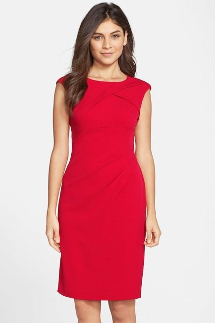 Adrianna Papell Pleated Crepe Dress Details A sleeveless ...