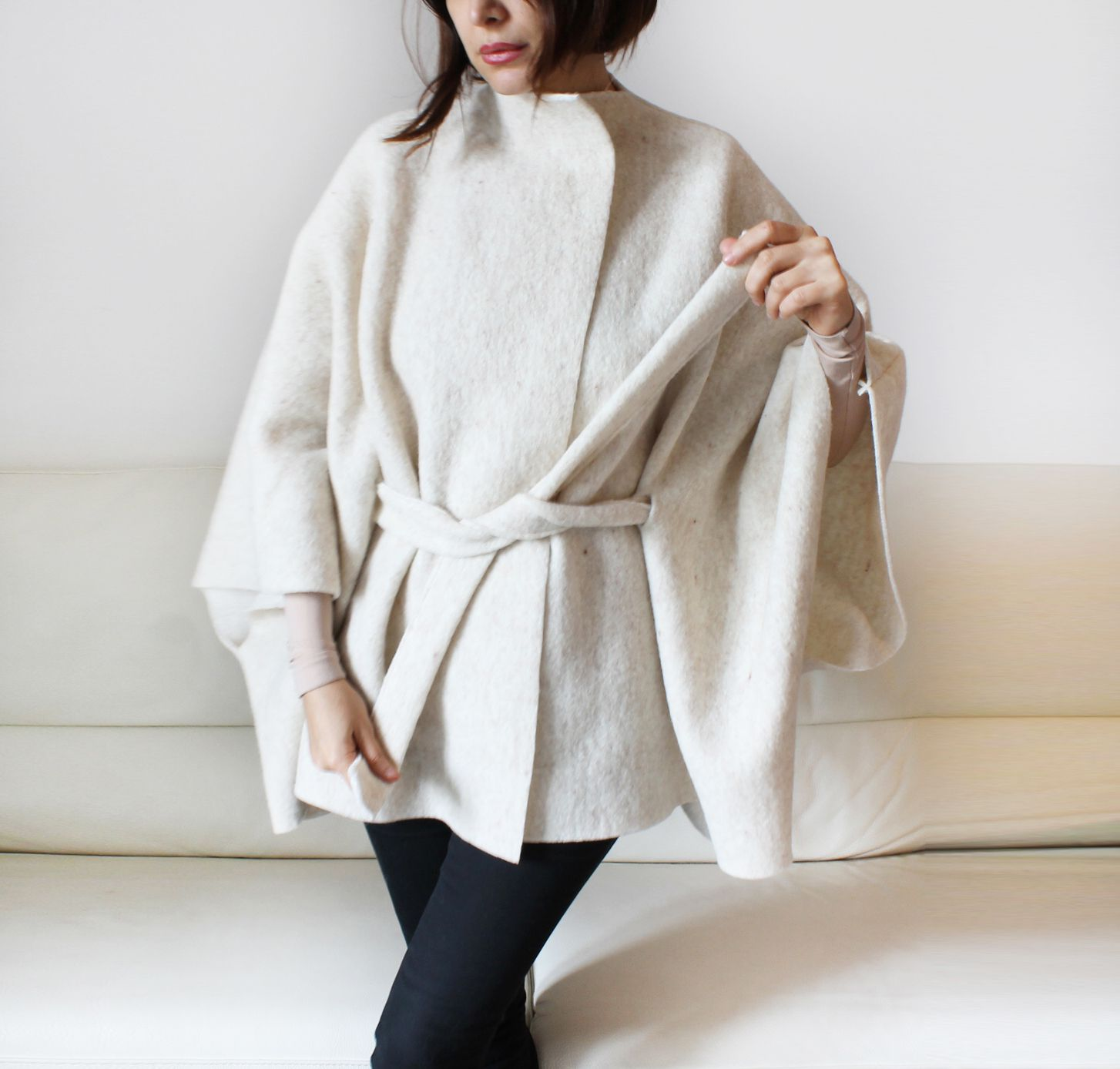 wool cape, belted wool cardigan, loose fitting elegant cape, women ...