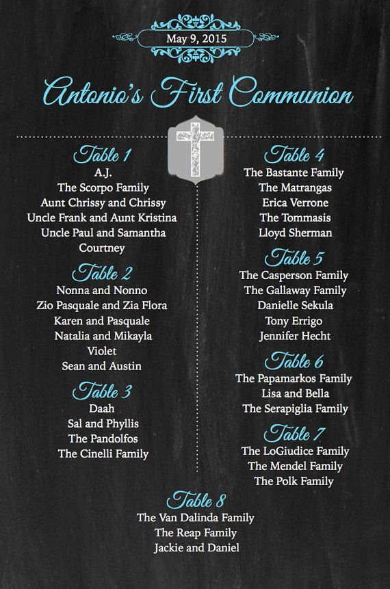 Customized Seating Chart For Baptism Christening By Printmywedding
