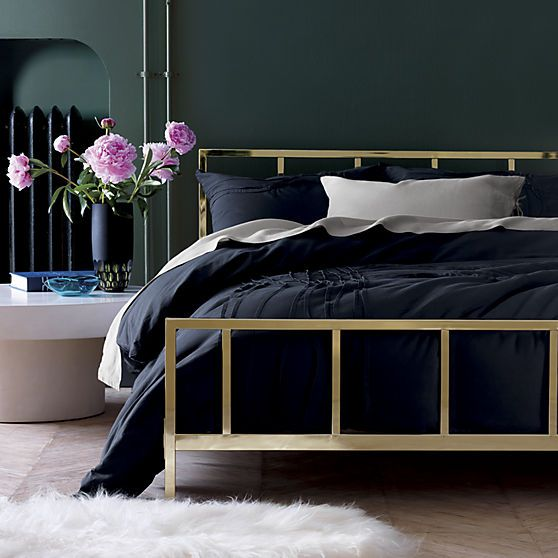 Alchemy Shiny Brass Queen Bed Cb2 Home Bedroom Gold Bed