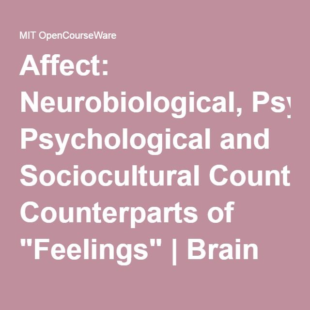 """Affect: Neurobiological, Psychological and Sociocultural Counterparts of """"Feelings"""" 
