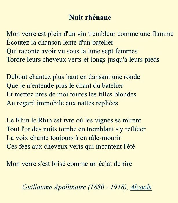 My Favorite Poem Ever Its French Nuit Rhénane