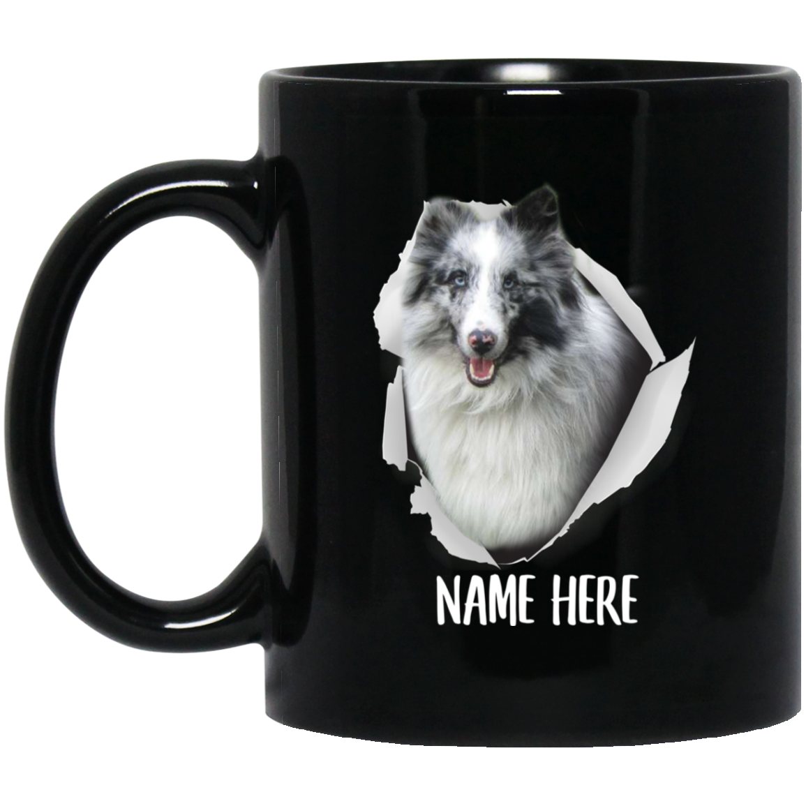 Funny Personalized Sheltie Bi Blue Custom Name Black