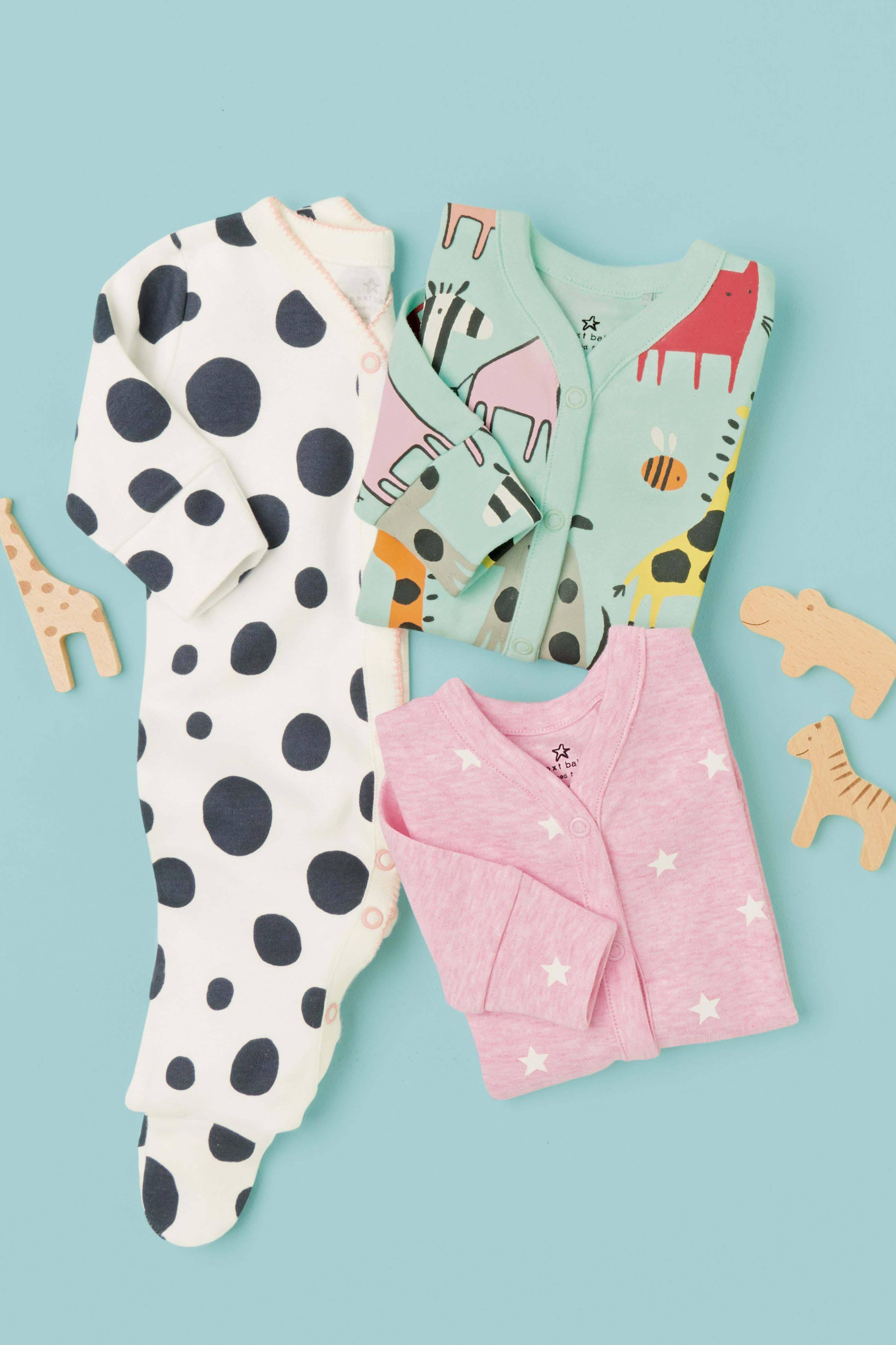 b8b8d99b9e4c Girls Next Teal Pink Character Spot Sleepsuits Three Pack (0mths ...