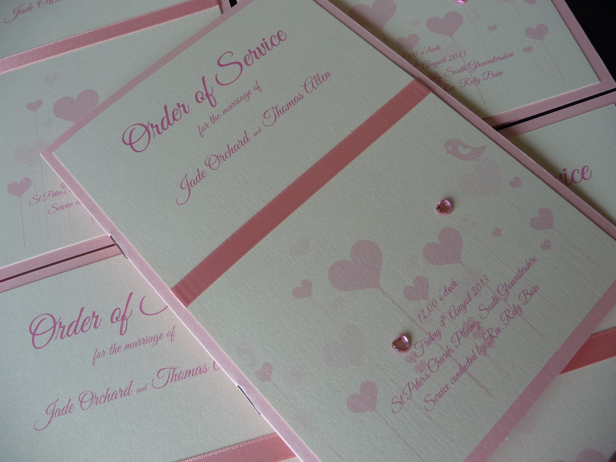 Baby Pink And Ivory Order Of Service Booklets With A Cute Bird And