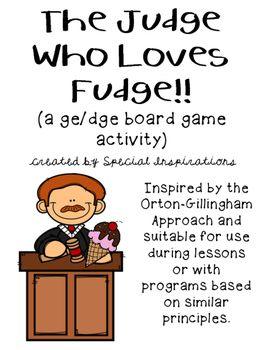 the judge who loves fudge a ge dge board game orton gillingham inspired tpt store special. Black Bedroom Furniture Sets. Home Design Ideas