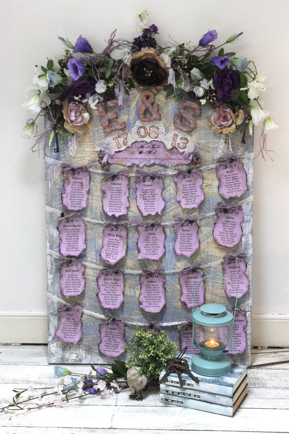 Wedding seating plan lavender purple wedding table plan vintage style wedding - reusable display