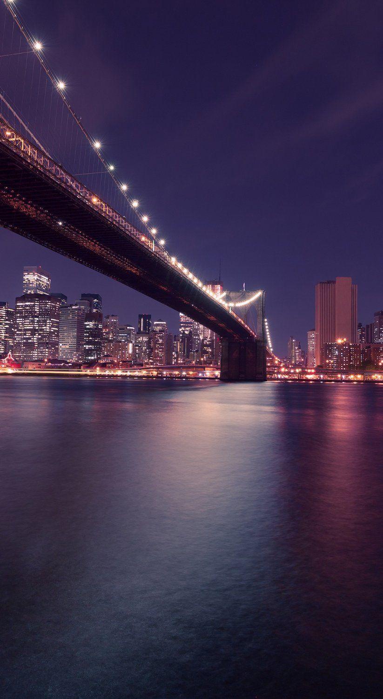 New York City Brooklyn Bridge Night Skyline Usa Brooklyn Bridge New York New York City Travel City