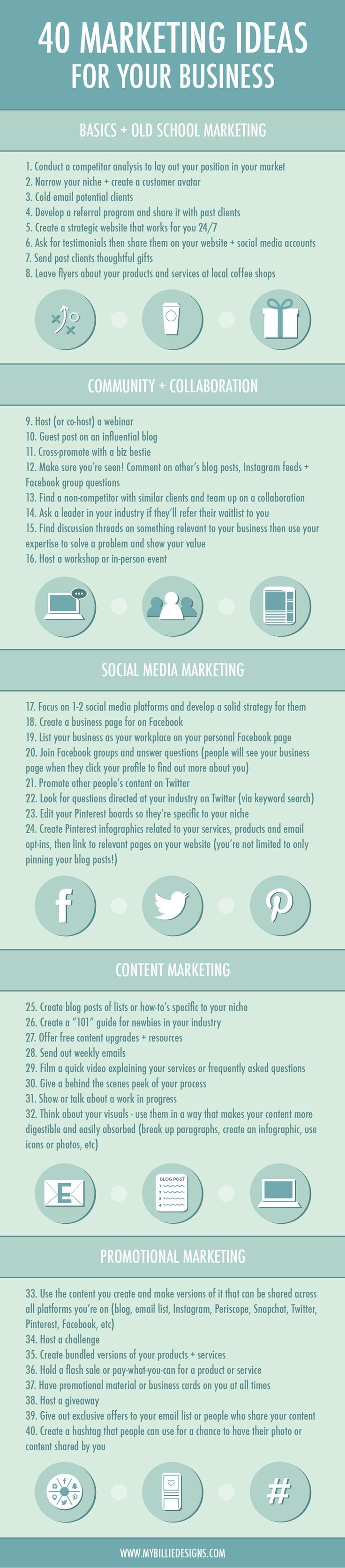 40 Marketing Ideas For Your Business Business Marketing Business Infographic Small Business Marketing