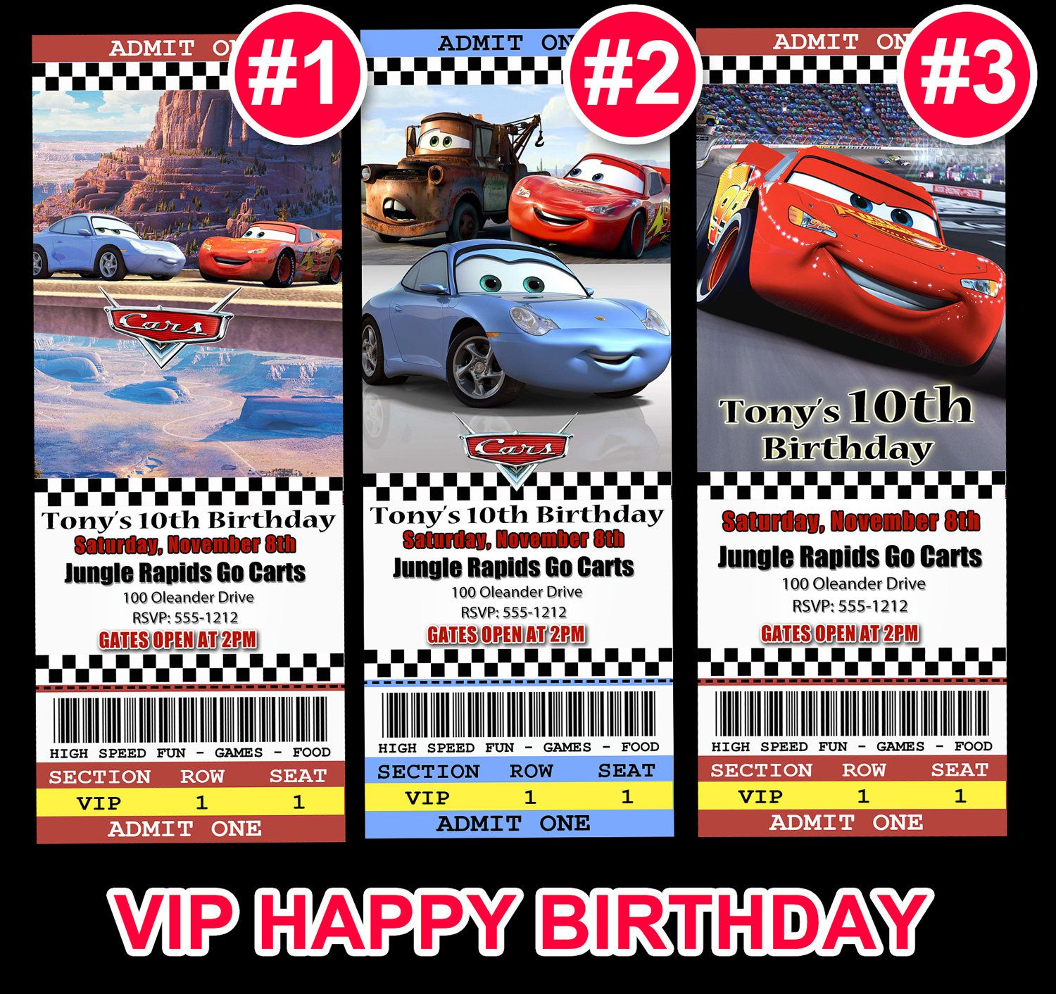 vip birthday invitation  cars ticket invitation race car
