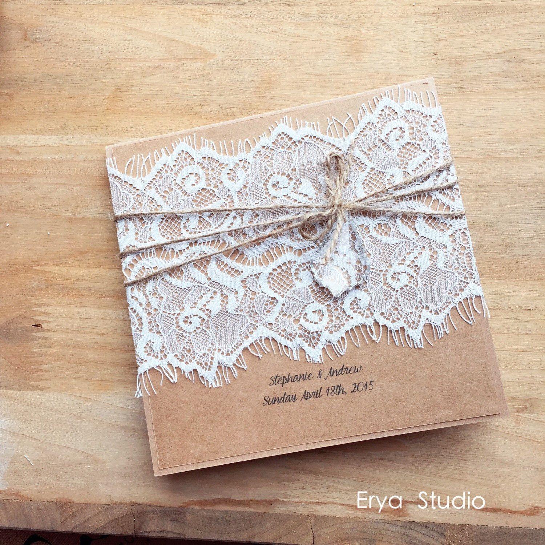 Vintage Lace Burlap Wedding Invitation, Burlap Wedding Invitations ...